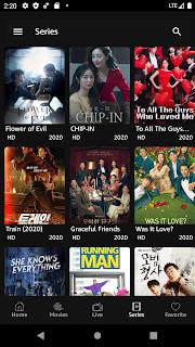 Movie series tabs dark theme