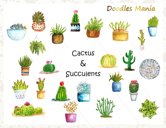 Cactus Watercolor Clipart
