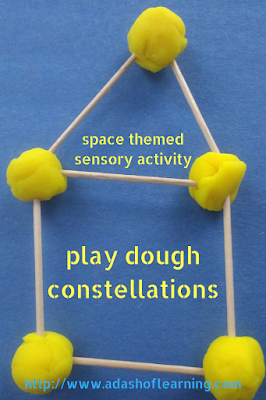 play dough constellations: space themed sensory activity