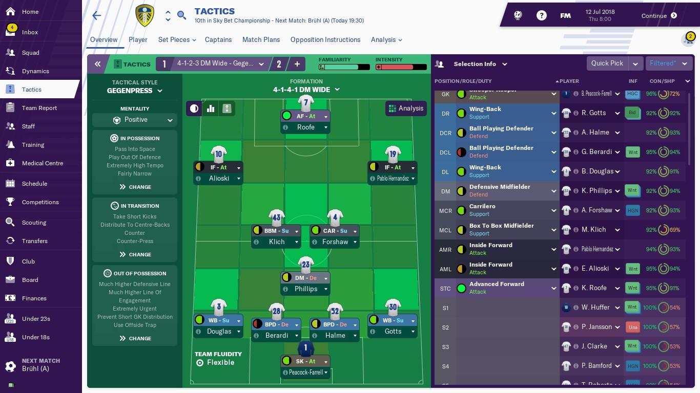 FM19 Leeds United Tactic