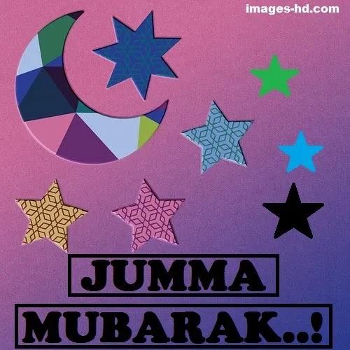 Jumma Mubarak DP with stars and moon made of paper