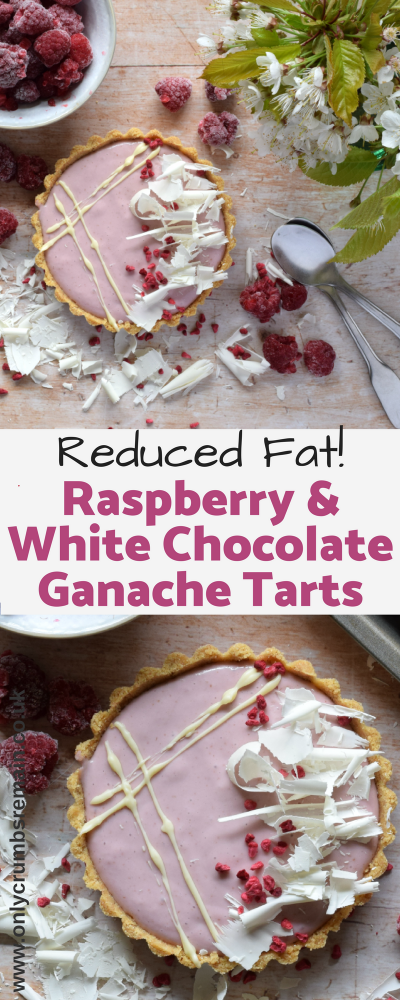Our reduced fat Raspberry & White Chocolate Ganache Tarts are easy to make and a little kinder to the waistline.  They're a great make ahead dessert when entertaining guests which use the popular flavour combination of raspberry and white chocolate.