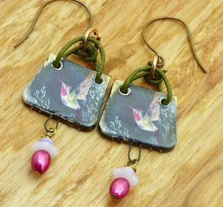 Ruby Throated Hummingbird Earrings by BayMoonDesign