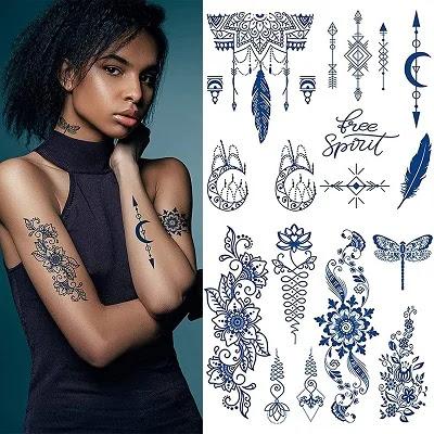 Body Art Flower Word Fake Tattoos