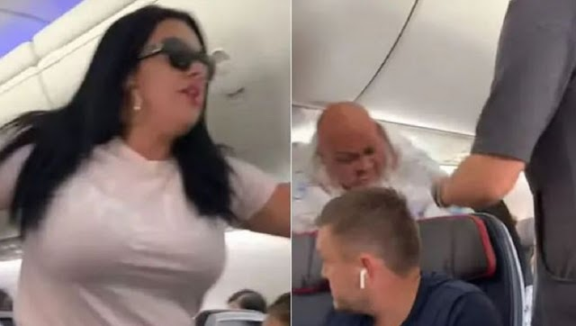 Woman smashes laptop on husband's head on airplane