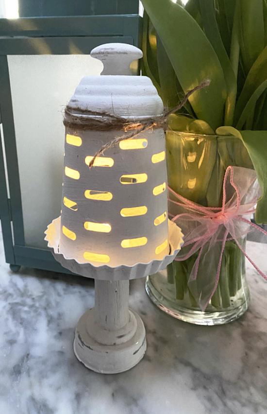 lantern in the dark with flickering light