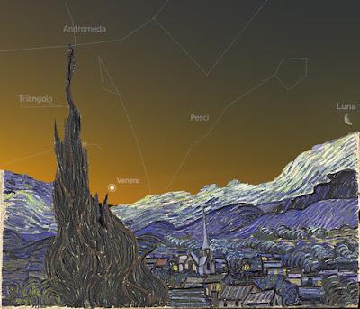 Confronto tra la Notte stellata e l'alba del 23 maggio 1889