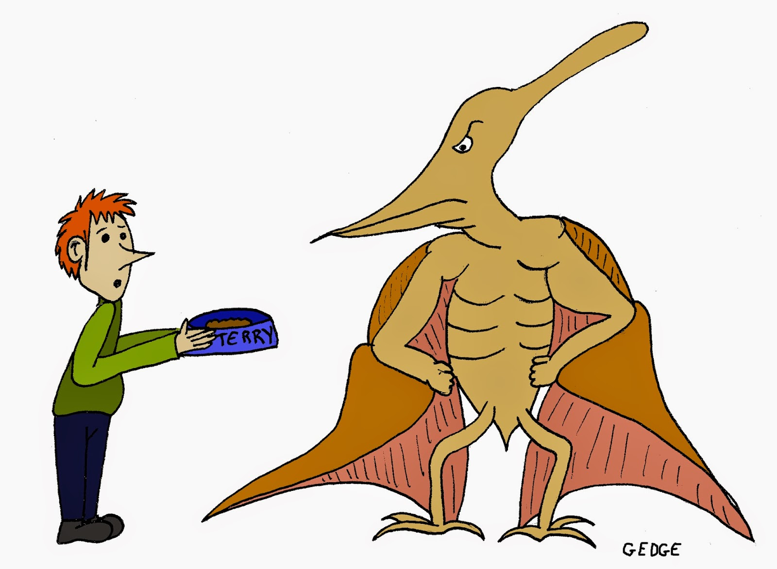 Man feeding pet food to an angry pterodactyl