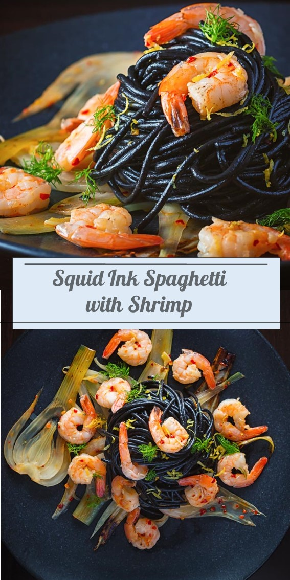 Squid Ink Spaghetti With Shrimp #Spaghetti #Shrimp #Squid #Pasta #Lemon #Chili #Seafood