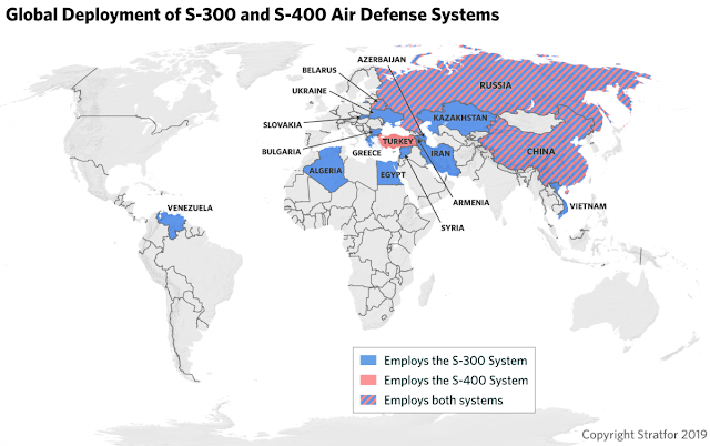 Russia's S-400 Missile Defense System's world Map Representation