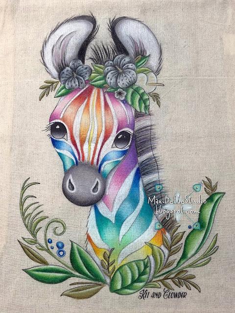 Kit and Clowder Rainbow Zebra Canvas Bag