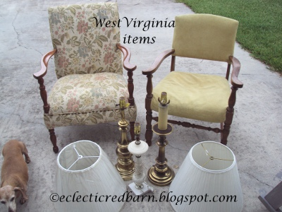 Eclectic Red Barn: Free chairs and lamps from West Virginia