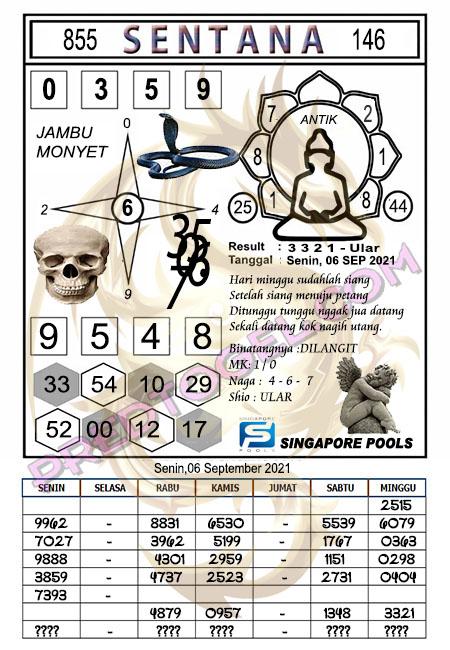 Syair Sentana Singapura Senin 06-09-2021
