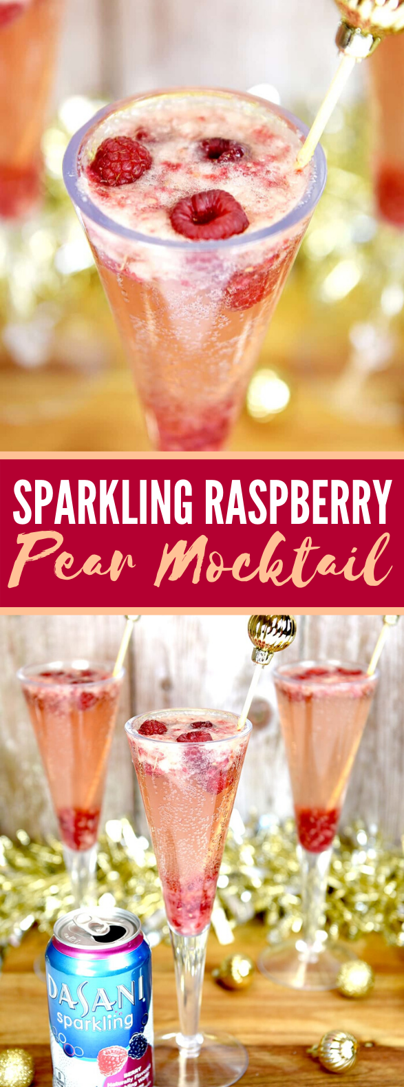 SPARKLING RASPBERRY PEAR MOCKTAIL #drinks #sparklingholiday