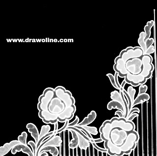 How to draw emroidery designs on saree/pencil sketches saree design easy/saree corner designs for embroidery drawings