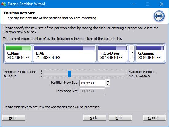 كيفية زيادة حجم قرص النظام C بدون فقد البيانات وبدون فورمات