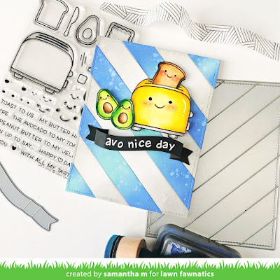 Avo Nice Day Card by Samantha Mann for Lawn Fawnatics Challenge Blog, Avocado, Let's Toast, Card, Card Making, handmade cards, Distress Oxide Inks, Ink Blending, Die Cutting, Heat Embossing, #lawnfawn #lawnfawnatcis #avocado #Diecutting #fussycutting #avoniceday