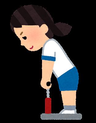 背筋測定のイラスト(女の子)