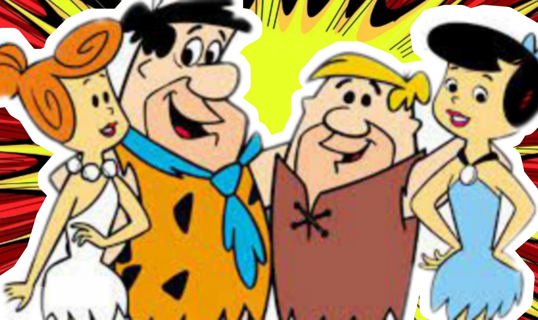 A imagem mostra da esquerda para a direita: a esposa Wilma, o marido Fred, o melhor amigo Barney e sua esposa Betty.