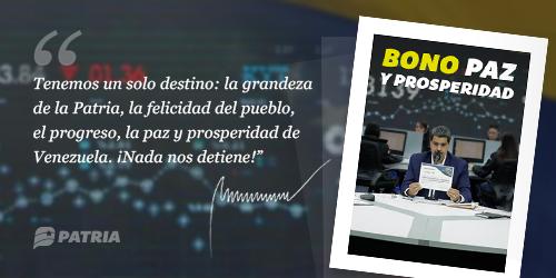 """Comenzó asignación del nuevo bono """"paz y prosperidad"""" por el carnet de la patria"""