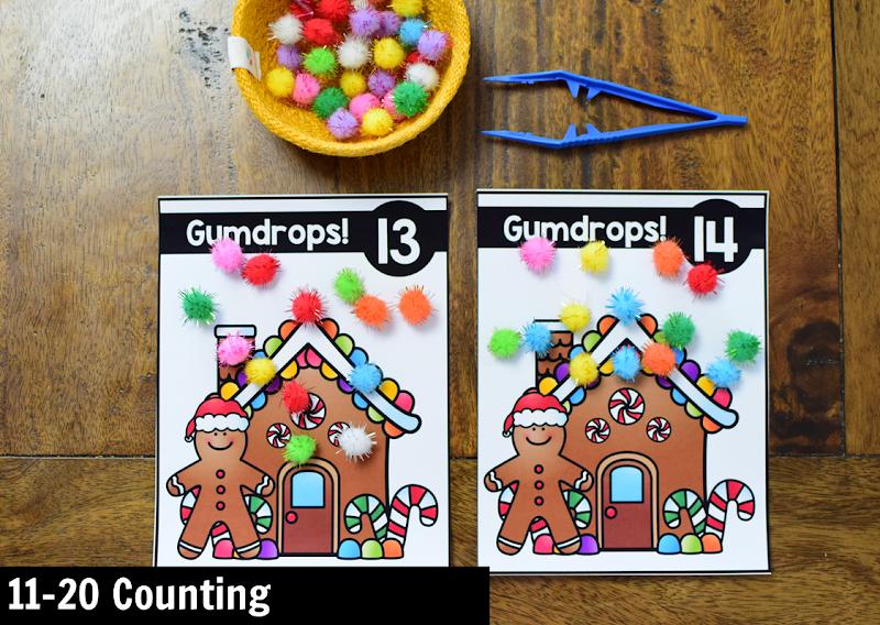 Kindergarten Math Center for December: 11-20 Counting