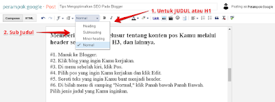 Setting heading postingan blogger seo
