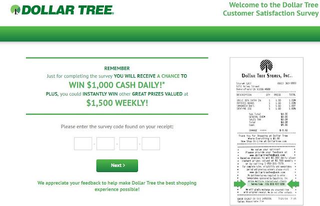 dollar tree feedback survey image