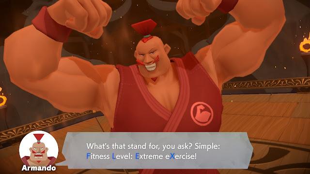 Ring Fit Adventure Armando World 32 fitness level extreme exercise flex