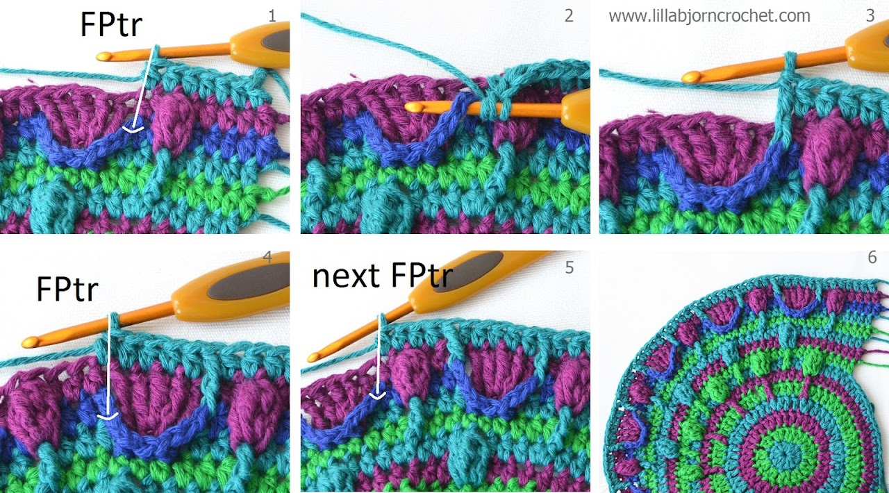 Part 3 of Peacock Tail Bag CAL. Free crochet pattern and original design by Lilla Bjorn.