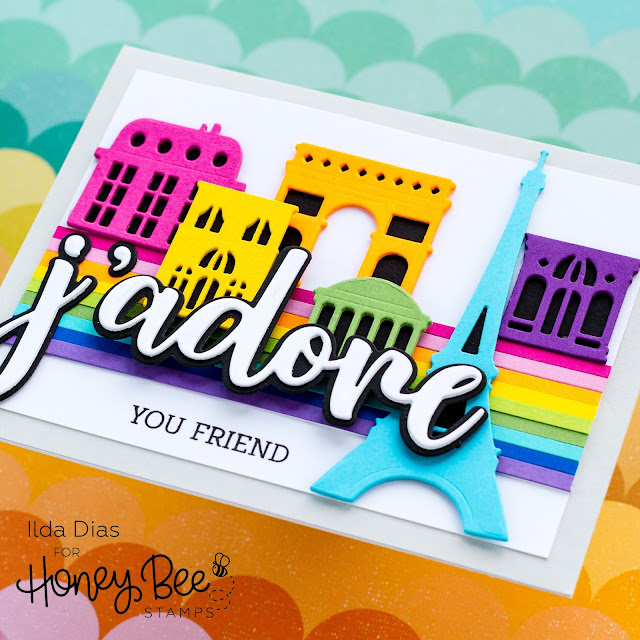 J'Adore, You Parisian Skyline Card,Honey Bee Stamps,Love Letters, Sneak Peeks, Card Making, Stamping, Die Cutting, handmade card, ilovedoingallthingscrafty, Stamps, how to,