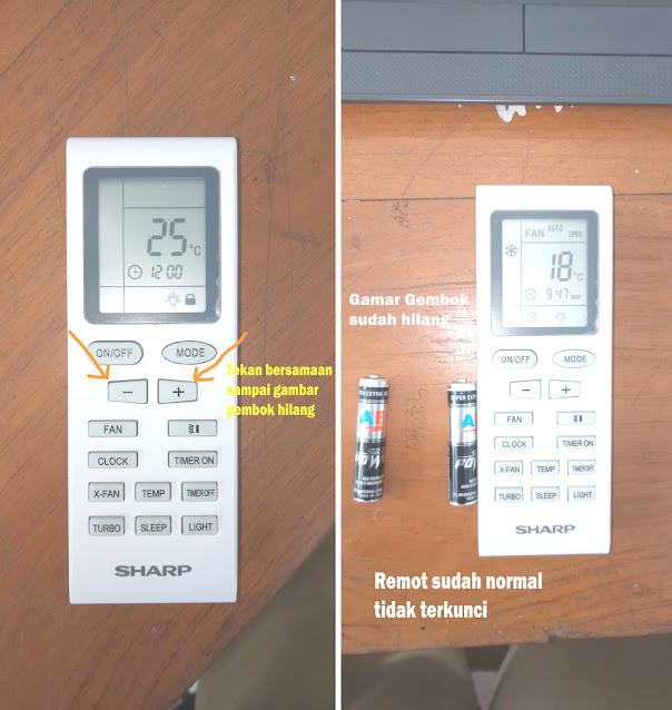 cara membuka remote ac sharp yang terkunci, remote ac sharp terkunci