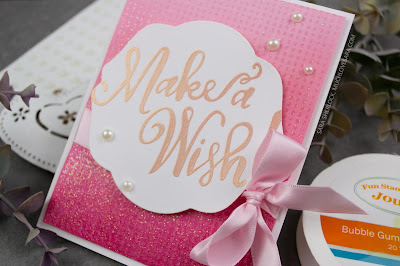 Super fun, and sparkling, birthday card - created with the Fun Stampers Journey Make A Wish ATS, and Graduated Dots stamps.