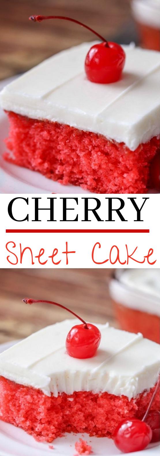 Cherry Sheet Cake #cake #desserts