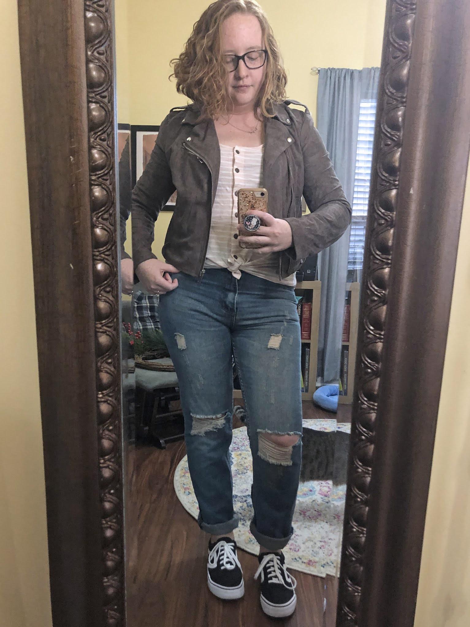 grey moto jacket striped tank bf jeans