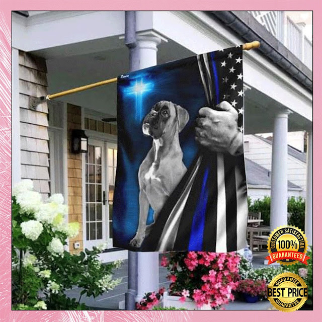 [Discount] Boxer Police Dog Thin Blue Line Christian Cross Flag