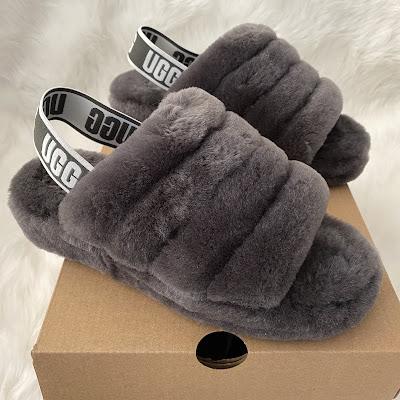ugg fluff yeah sandal charcoal gray