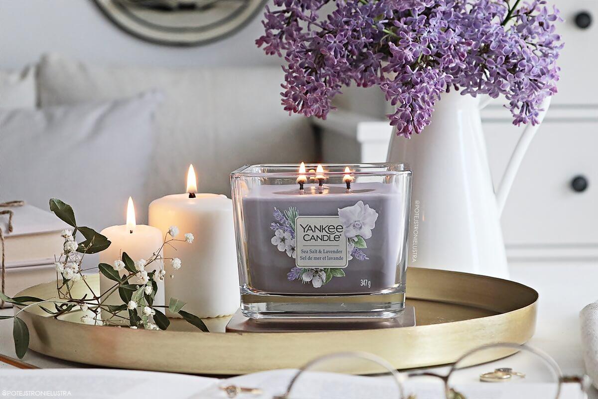yankee candle sea salt & lavender elevation collection with platform lid