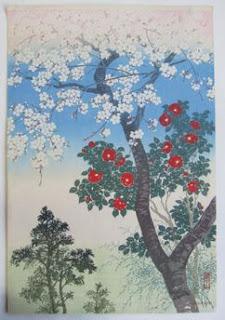 川面義雄(根来莱山) 櫻下椿花の木版画販売買取ぎゃらりーおおのです。愛知県名古屋市にある木版画専門店