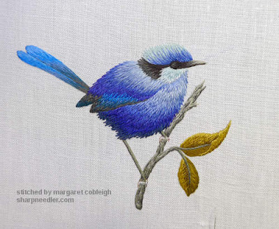 Thread painted blue bird:eye stitched but not highlighted