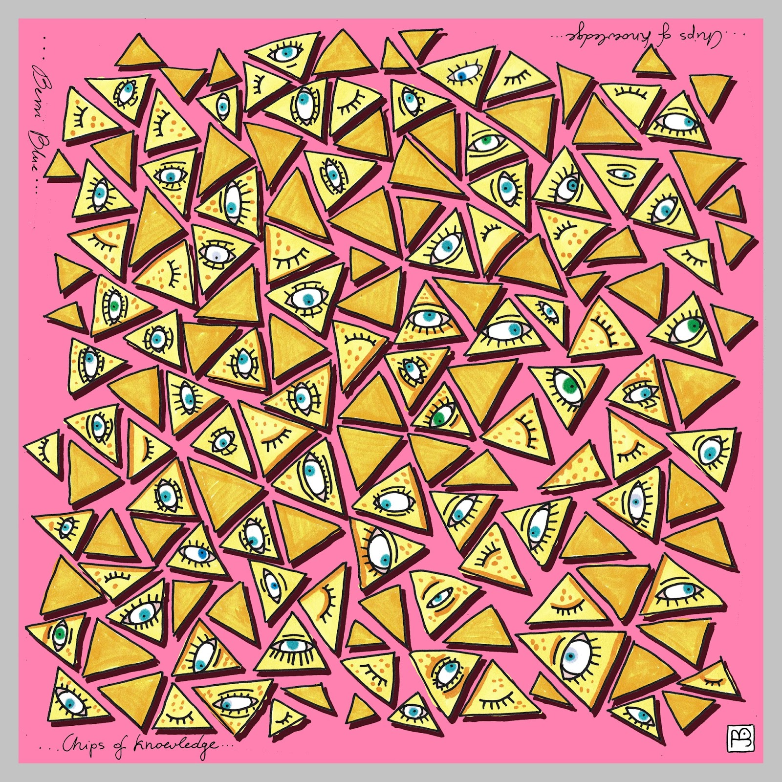 """Berriblue Silk Scarf Chips of Knowledge"""" border="""