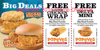 free Popeyes Chicken coupons for december 2016
