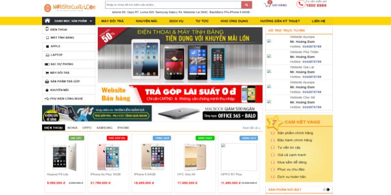 Mẫu website bán hàng điện thoại miễn phí