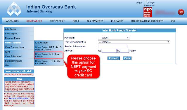 IOB Net Banking NEFT Option