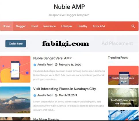 Blogger Amp Uyumlu Kişisel Site Nubie Teması Bedava İndir 2021