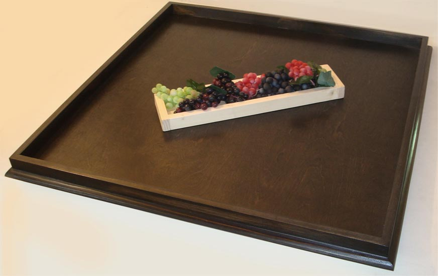 36 X Ebony Stained Bevel Edge Ottoman Tray