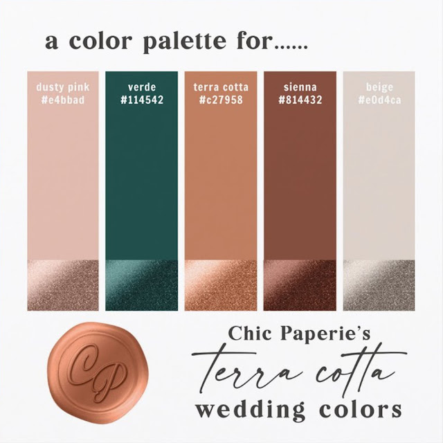 2021 Wedding Color Palette: Terracotta, Dusty Pink, Sienna Brown, Emerald Green, and Beige