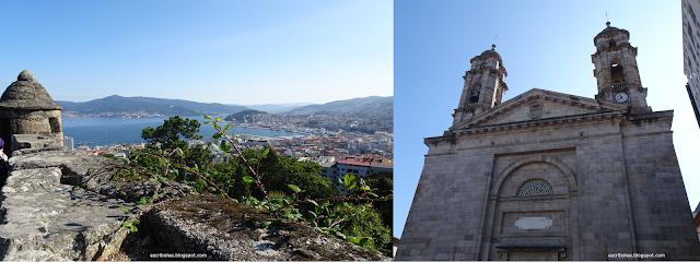 Vistas del mirador del Castro y Concatedral de Santa María de Vigo