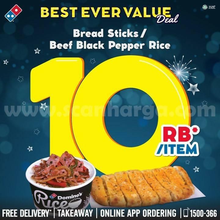 Promo DOMINO'S PIZZA Beli Beef Black Pepper Rice atau Bread Stick cuma Rp 10.000 aja