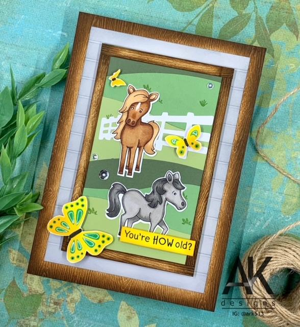 You're How Old? Horse card by May Guest Designer Adam Karle | Neigh Stamp Set and Butterflies Stencil Set by Newton's Nook Designs #newtonsnook #handmade