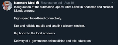 PM Modi's tweet about the advantages of optical fibres connection between Chennai and Andaman Nicobar Islands